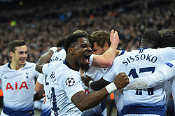 February 13, 2019 - London, England, United Kingdom - Tottenham defender Serge Aurier celebrates Fernando Llorente's goal during the UEFA Champions League match between Tottenham Hotspur and Ballspielverein Borussia 09 e.V. Dortmund at Wembley Stadium, London on Wednesday 13th February 2019. (Credit: Jon Bromley | MI News & Sport Ltd) (Credit Image: © Mi News/NurPhoto via ZUMA Press)