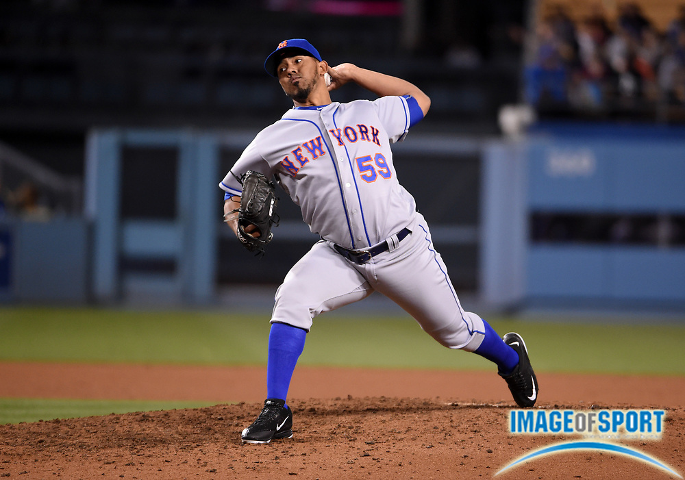 May 9, 2016; Los Angeles, CA, USA; New York Mets relief pitcher Antonio Bastardo (59) delivers a pitch against the Los Angeles Dodgers during a MLB game at Dodger Stadium. The Mets defeated the Dodgers 4-2.