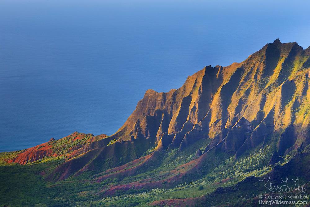Alealau, a 3,875-foot mountain, towers over the Kalalau Valley below on Kauai's rugged Na Pali coast.