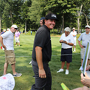 Phil Mickelson chats with fans during the ProAm at The Barclays Golf Tournament at The Ridgewood Country Club, Paramus, New Jersey, USA. USA. 20th August 2014. Photo Tim Clayton