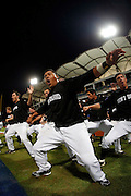 NEW TAIPEI CITY, TAIWAN - NOVEMBER 15: Members of Team New Zealand perform the Haka on the field before Game 2 of the 2013 World Baseball Classic Qualifier against Team Chinese Taipei at Xinzhuang Stadium in New Taipei City, Taiwan on Thursday, November 15, 2012. ( Photo by Yuki Taguchi/WBCI/MLB Photos