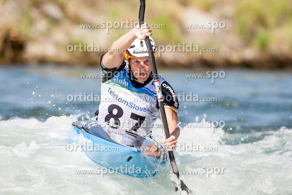 Paul Boeckelmann of Germany during Kayak(K1) Man semi-final race at ICF Canoe Slalom World Cup Sloka 2013, on August 17, 2013, in Tacen, Ljubljana, Slovenia. (Photo by Urban Urbanc / Sportida.com)