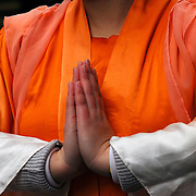 Ethnic pride and tradition in the Chinese Lunar New Year Celebration in New York Chinatown, Buddhist hands in prayer.