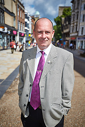 © Licensed to London News Pictures.  FILE PICTURE 05/06/2014. OXFORD, UK. Dickie Bird, UKIP prospective parliamentary candidate for Banbury, pictured in Oxford. The ex-serviceman recently resigned as head porter at Oriel College, part of Oxford University to devote more time to politics. Photo credit: Cliff Hide/LNP