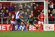 Blackburn Rovers defender Grant Hanley scores the opening goal during the Sky Bet Championship match between Bristol City and Blackburn Rovers at Ashton Gate, Bristol, England on 5 December 2015. Photo by Jemma Phillips.