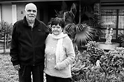 Victor Melder and his wife Esther, outisde their home in Broadmeadows, Victoria.<br /> <br /> The Victor Melder Library