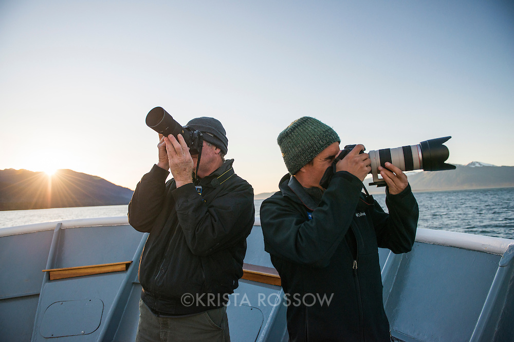 On these expeditions you'll often find the photo team, like Ryder Redfield (pictured right) out on deck giving photo tips, especially during sunset on a beautiful day in Frederick Sound.