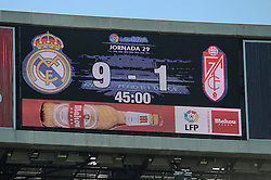 05.04.2015, Estadio Santiago Bernabeu, Madrid, ESP, Primera Division, Real Madrid vs FC Granada, 29. Runde, im Bild Real Madrid&acute;s 9 goals and Granada&acute;s 1 goal after 2014-15 La Liga match between Real Madrid and Granada at Santiago Bernabeu stadium in Madrid, Spain. April 05, 2015. (ALTERPHOTOS/Luis Fernandez) // during the Spanish Primera Division 29th round match between Real Madrid CF and Granada FC at the Estadio Santiago Bernabeu in Madrid, Spain on 2015/04/05. EXPA Pictures &copy; 2015, PhotoCredit: EXPA/ Alterphotos/ Luis Fernandez<br /> <br /> *****ATTENTION - OUT of ESP, SUI*****