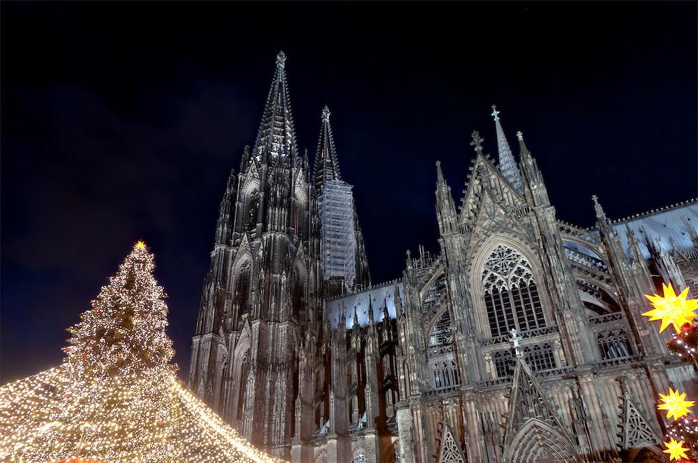 DEU,Deutschland,Nordrhein-Westfalen,Köln,  Weihnachtsbaum  vor dem Kölner Dom   | DEU, Germany, North Rhine-Westphalia, Koeln,Cologne  Christmas tree in front of the Cologne Cathedral