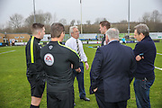 Dover manager Chris Kinnear discusses with the officials regarding the ongoing power cut during the Vanarama National League match between Forest Green Rovers and Dover Athletic at the New Lawn, Forest Green, United Kingdom on 17 December 2016. Photo by Shane Healey.