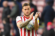 Sheffield United forward Billy Sharp (10)  who scored a hat trick celebrates at the end of the match during the EFL Sky Bet Championship match between Sheffield United and Wigan Athletic at Bramall Lane, Sheffield, England on 27 October 2018.