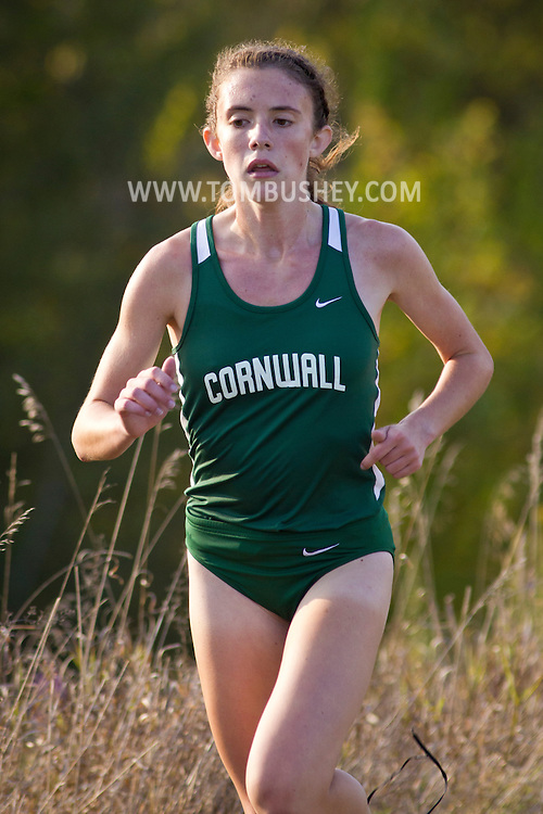 Warwick, New York - Warwick hosts a high school cross country meet with Cornwall, Pine Bush and Washingtonville at Sanfordville Elementary School on Sept. 30, 2014. Eventual winner Beatrice Boyland of Cornwall is shown leading the race.