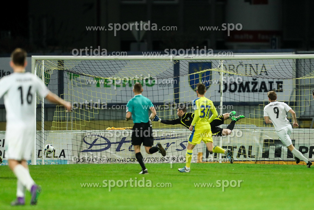 Axel Maraval #35 of NK Domzale during football match between NK Domzale and NK Krsko in 27th Round of Prva liga Telekom Slovenije 2015/16, on April 2, 2016 in Sports park Domzale, Slovenia. Photo by Vid Ponikvar / Sportida