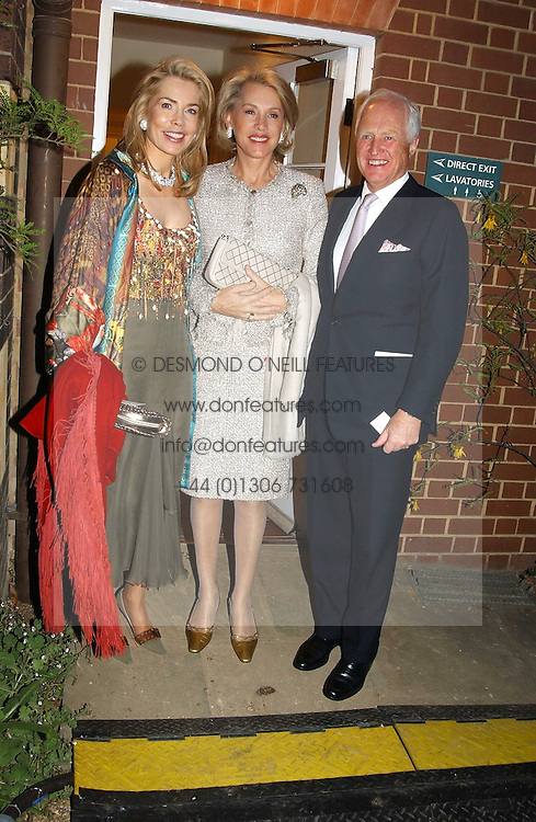 Left to right, The BEGUM INAARA AGA KHAN and MR & MRS WINSTON CHURCHILL at the Cartier Chelsea Flower Show dinat the annual Cartier Flower Show Diner held at The Physics Garden, Chelsea, London on 23rd May 2005.<br />
