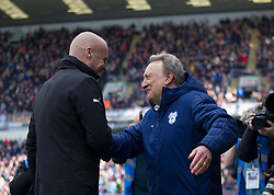 Cardiff City manager Neil Warnock and Burnley manager Sean Dyche (L) shake hands- Mandatory by-line: Jack Phillips/JMP - 13/04/2019 - FOOTBALL - Turf Moor - Burnley, England - Burnley v Cardiff City - English Premier League