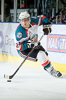 KELOWNA, CANADA - FEBRUARY 15: Tyson Baillie #24 of the Kelowna Rockets skates with the puck at the Kelowna Rockets on February 15, 2012 at Prospera Place in Kelowna, British Columbia, Canada (Photo by Marissa Baecker/Getty Images) *** Local Caption *** Tyson Baillie;