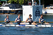 Henley on Thames, England, United Kingdom, 4th July 2019, Henley Royal Regatta, The Visitor Challenge Cup, University of British Columbia, CAN, passing the one mile and one eight barrier,  Henley Reach, [© Peter SPURRIER/Intersport Image]<br /> <br /> 10:10:12 1919 - 2019, Royal Henley Peace Regatta Centenary,