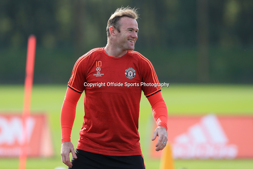 29th September 2015 - UEFA Champions League - Group B - Manchester United Press Conference - Wayne Rooney laughs and smiles - Photo: Simon Stacpoole / Offside.