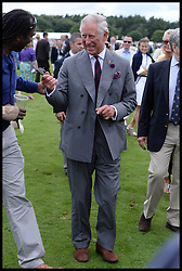 HRH The Prince of Wales treads in the divots at half time on the polo pitch during the Audi International Polo 2013-Westchester Cup Polo match Audi England v Equus & Co USA at the <br /> Guards Polo Club, Egham, United Kingdom,<br /> Sunday, 28th July 2013<br /> Picture by Andrew Parsons / i-Images