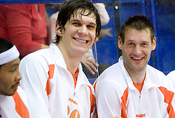 Boban Marjanovic and Goran Jagodnik of Hemofarm at basketball match in 6th Round of NLB League  between KK Helios Domzale and KK Hemofarm STADA Vrsac , on November 7, 2009, in Dvorana Komunalnega centra, Domzale, Slovenia.  Helios lost 60:85. (Photo by Vid Ponikvar / Sportida)
