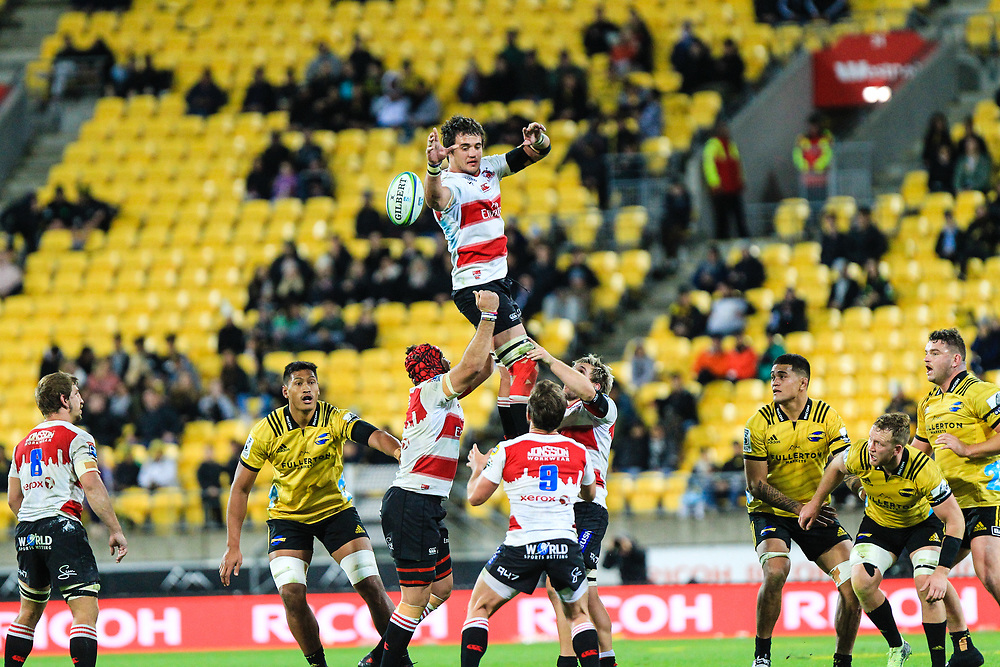 Lineout during the Super rugby (Round 12) match played between Hurricanes  v Lions, at Westpac Stadium, Wellington, New Zealand, on 5 May 2018.  Hurricanes won 28-19.