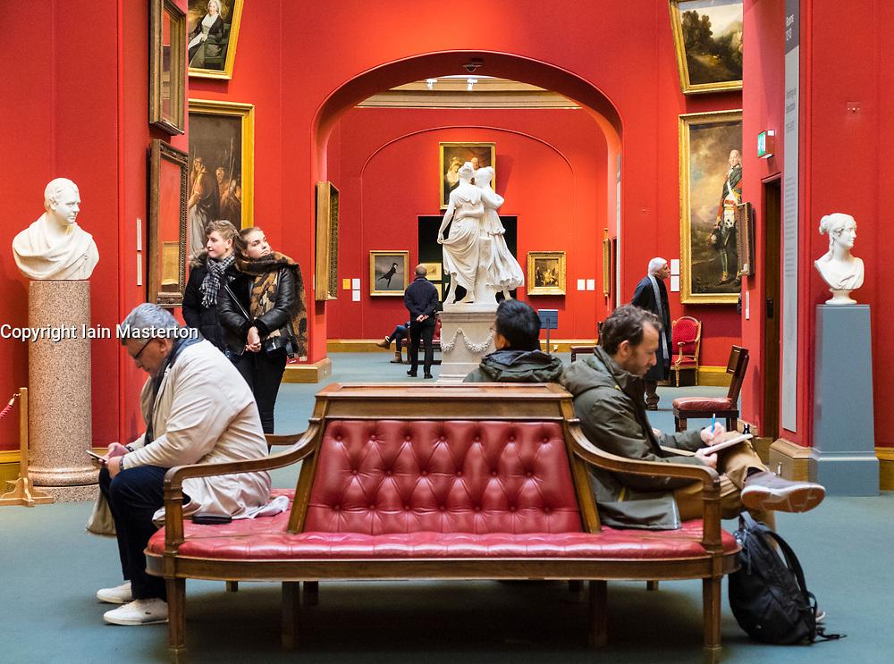 Interior of Scottish National Gallery art museum in Edinburgh, Scotland, United Kingdom