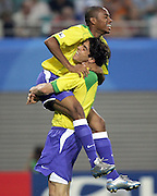 LEIPZIG BRAZIL V GREECE (3-1) CONFEDERATIONS CUP 15/06/05.ROBINHO AND KAKA CELEBRATE  (BRAZIL)