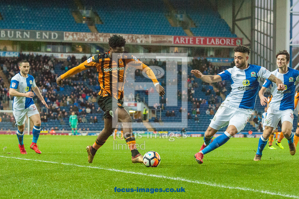 Ola Aina of Hull City takes on the Blackburn Rovers defence during the FA Cup match at Ewood Park, Blackburn<br /> Picture by Matt Wilkinson/Focus Images Ltd 07814 960751<br /> 06/01/2018