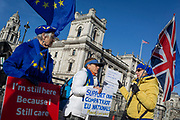 Two days before Brexit Day (the date of 31st January 2020, when the UK legally exits the European Union), Remain voters protest outside the British Parliament as Ministers arrive for the weekly Prime Minister's Questions session, in Parliament Square, Westminster, on 29th January 2020, in London, England.