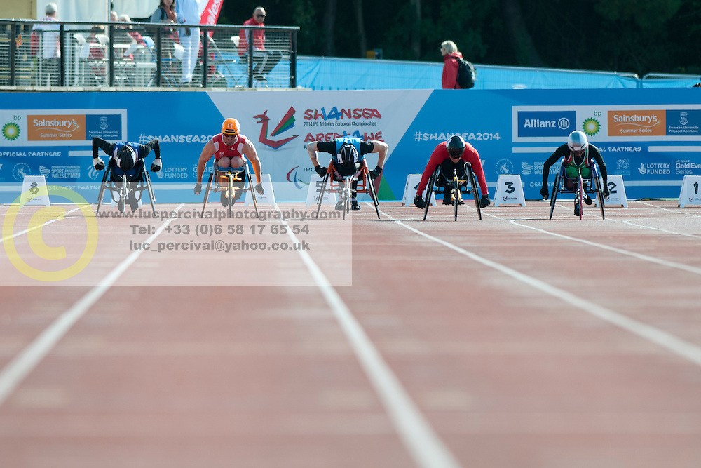 Rob Smith, Thomas Geierspichler, Mario Trindade, Artem Shishkovskiy, Beat Bosch, 2014 IPC European Athletics Championships, Swansea, Wales, United Kingdom