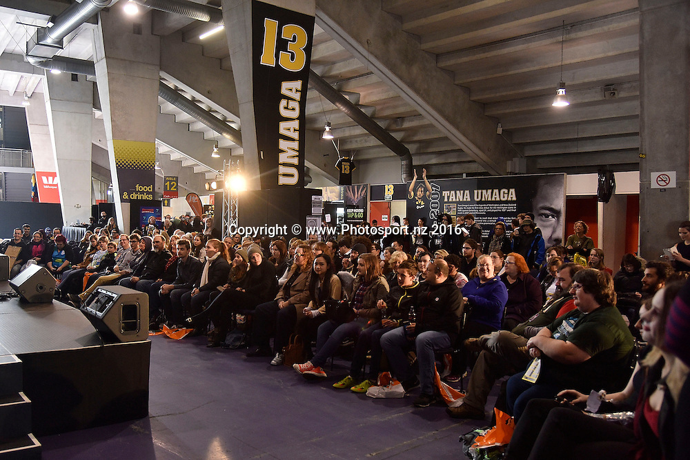 Fans listen to Samuel Anderson from Dr Who  during the Armageddon Expo at Westpac Stadium on Saturday the 4th of June 2016. Copyright Photo by Marty Melville / www.Photosport.nz