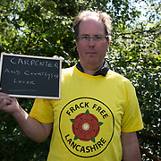 Martin Porter. 13 anti-fracking activists, climate protectors, the day before doing a joint lock-on outside Quadrilla's drill site in New Preston Road, Lancashire. The campaign against the drilling for shale gas has been going for years and since January 2017 many have taken to block the gates to deny Quadrilla being able to drill. Fracking was rejected by Lancashire County council in 2015 but were overruled by central Conservative government and locals are fighting to stop the drilling and reverse the decision.