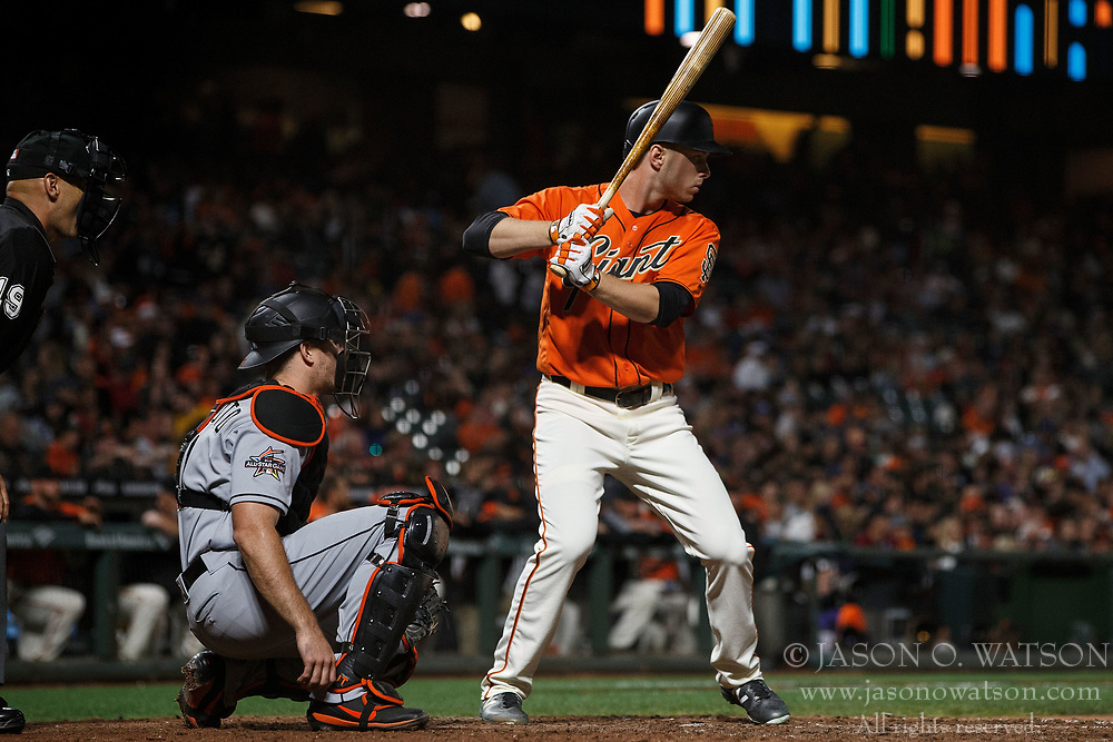 SAN FRANCISCO, CA - JULY 07: Austin Slater #53 of the San Francisco Giants at bat against the Miami Marlins during the eighth inning at AT&T Park on July 7, 2017 in San Francisco, California. The Miami Marlins defeated the San Francisco Giants 6-1. (Photo by Jason O. Watson/Getty Images) *** Local Caption *** Austin Slater