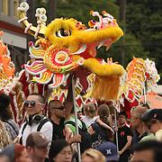 Seattle's Chinatown-ID Dragon Fest 2012.  Lion & Dragon Dances (Mak Fai Washington Kung Fu Club).