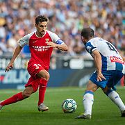 BARCELONA, SPAIN - August 18: Jesus Navas #16 of Sevilla defended by Victor Sanchez #4 of Espanyol during the Espanyol V  Sevilla FC, La Liga regular season match at RCDE Stadium on August 18th 2019 in Barcelona, Spain. (Photo by Tim Clayton/Corbis via Getty Images)