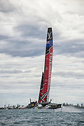 The Great Sound, Bermuda. 11th June 2017. Emirates Team New Zealand  in race five of the Louis Vuitton America's Cup Challenger playoff finals. ETNZ won the race to go ahead to 3 - 2.