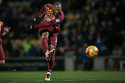 Wes Thomas (Bradford City) takes a shot at goal, but the ball is saved during the Sky Bet League 1 match between Bradford City and Southend United at the Coral Windows Stadium, Bradford, England on 16 February 2016. Photo by Mark P Doherty.