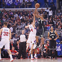 16 November 2013: Brooklyn Nets shooting guard Alan Anderson (6) takes a jumpshot over Los Angeles Clippers shooting guard J.J. Redick (4) during the Los Angeles Clippers 110-103 victory over the Brooklyn Nets at the Staples Center, Los Angeles, California, USA.