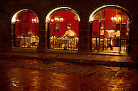 Movement inside a restaurant off El Jardin, San Miguel de Allende, Mexico.