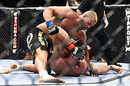 "LONDON, ENGLAND, JUNE 7, 2008: Eddie Sanchez (top) pressures a grounded Antoni Hardonk during ""UFC 85: Bedlam"" inside the O2 Arena in Greenwich, London on June 7, 2008."