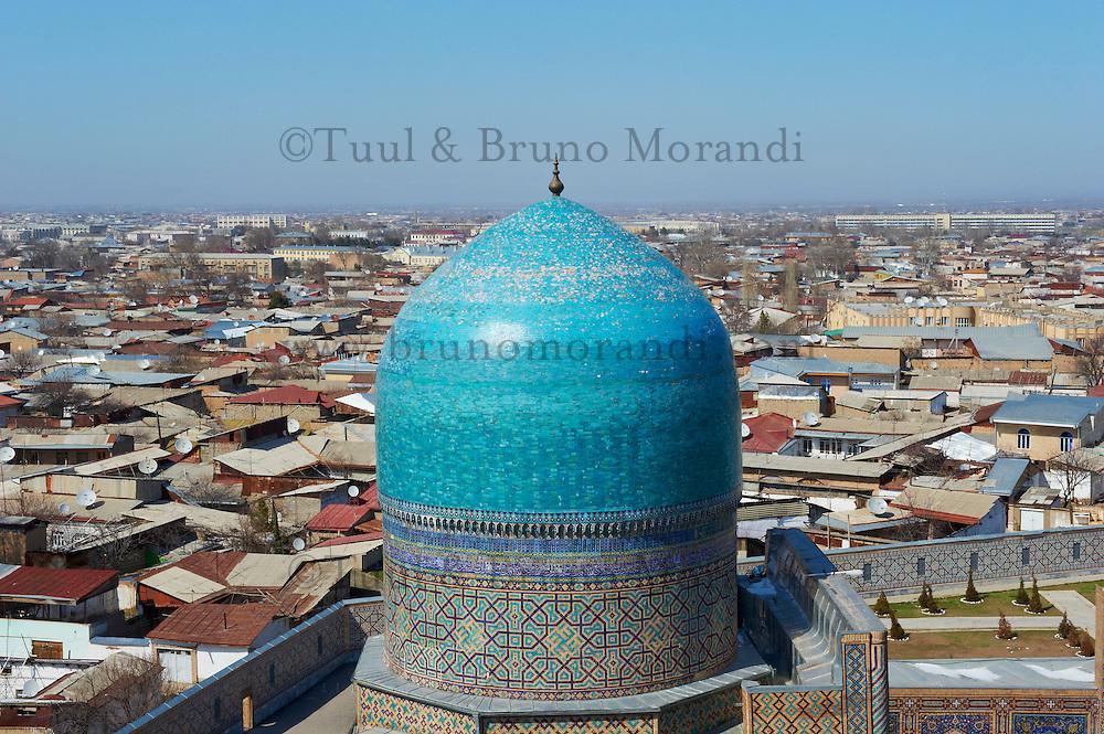 Ouzbékistan, Samarcande, classé Patrimoine Mondial de l'UNESCO, place du Reghistan, Medersa Tilla Kari, la coupole // Uzbekistan, Samarkand, Unesco World Heritage, Tilla Kari Madarsah, Dome
