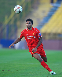 SOFIA, BULGARIA - Wednesday, November 26, 2014: Liverpool's Jerome Sinclair in action against PFC Ludogorets Razgrad during the UEFA Youth League Group B match at the Georgi Asparuhov Stadium. (Pic by David Rawcliffe/Propaganda)