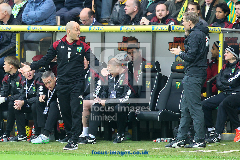 Norwich Manager Alex Neil makes his point to Fourth Official Graham Scott during the Barclays Premier League match at Carrow Road, Norwich<br /> Picture by Paul Chesterton/Focus Images Ltd +44 7904 640267<br /> 24/10/2015