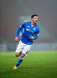 St Johnstone's Michael O'Halloran cele scoring their second goal. St Johnstone 2 v 1 Ross County, Scottish Premiership 22/11/2014 at St Johnstone's home ground, McDiarmid Park.