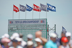 June 16, 2018 - Southampton, NY, USA - A view of the leaderboard during the third round of the 2018 U.S. Open at Shinnecock Hills Country Club in Southampton, N.Y., on Saturday, June 16, 2018. (Credit Image: © Brian Ciancio/TNS via ZUMA Wire)