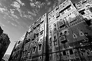 Yemen. Facade of homes in Sanaa.