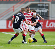 Hamilton&rsquo;s Dougie Imrie holds off Dundee&rsquo;s Mark O&rsquo;Hara and Cammy Kerr - Hamilton Academical v Dundee in the Ladbrokes Scottish Premiership at the SuperSeal Stadium, Hamilton, Photo: David Young<br /> <br />  - &copy; David Young - www.davidyoungphoto.co.uk - email: davidyoungphoto@gmail.com