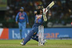 March 12, 2018 - Colombo, Sri Lanka - Sri Lankan cricketer Kusal Mendis plays a shot during the 4th Twenty-20 cricket match of NIDAHAS Trophy between Sri Lanka  and India at R Premadasa cricket ground, Colombo, Sri Lanka on Monday 12 March 2018. (Credit Image: © Tharaka Basnayaka/NurPhoto via ZUMA Press)