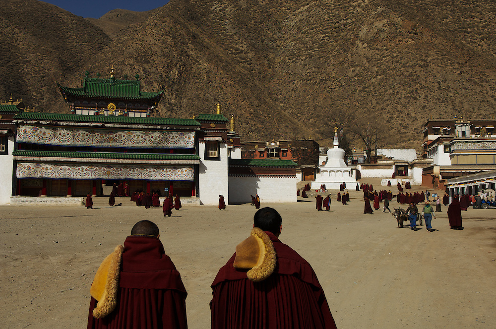 Monks of the Gelugpa (yellow hat) sect, Labrang Monastery, during Tibetan New Year celebrations, Gansu Province, China