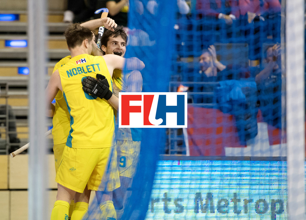 BERLIN - Indoor Hockey World Cup<br /> Quarterfinal 4: Australia - Belgium<br /> foto: Australia final second winner.<br /> WORLDSPORTPICS COPYRIGHT FRANK UIJLENBROEK